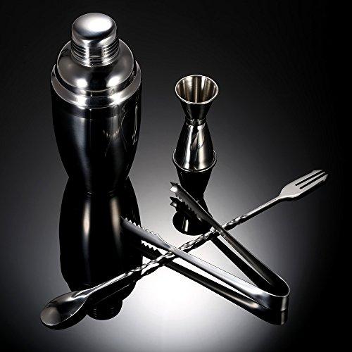 4pcs cocktail shaker mixer set pratico strumento per vino in acciaio inox con jigger ice tong bere kit barman bar accessori ^.