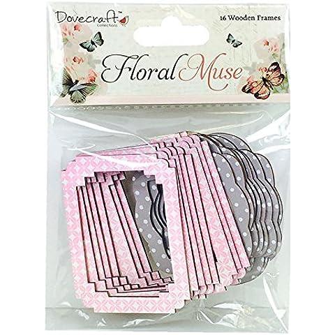 Dovecraft Muse marco de diseño de flores, madera, multi-color, 16 x 11,5 x 5 cm