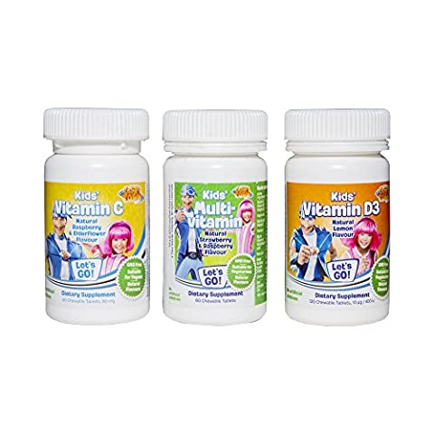 Lazy Town Kids Vitamins - C D Multivit and Calcium/Magnesium - Vegetarian GMO Free Dairy Free (Multipack (Vitamin C & D &