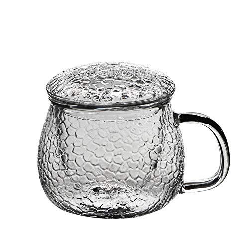 ROKTONG Théière en Verre épaissie Ceinture de Marteau avec Tasse d'eau de Bureau avec Couvercle Filtre Tasse de thé Tasse