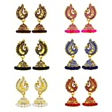 #10: Fresh Vibes Golden Peacock Traditional Marriage Party Jhumkis Combo for Ladies | Womens Small Drop Jhumki Earrings Set of 6 for Wedding