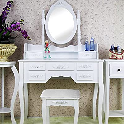 Bigtree Shabby Chic Dressing Table Vanity Makeup with 7 Drawers, Mirrors and Stool - inexpensive UK light shop.