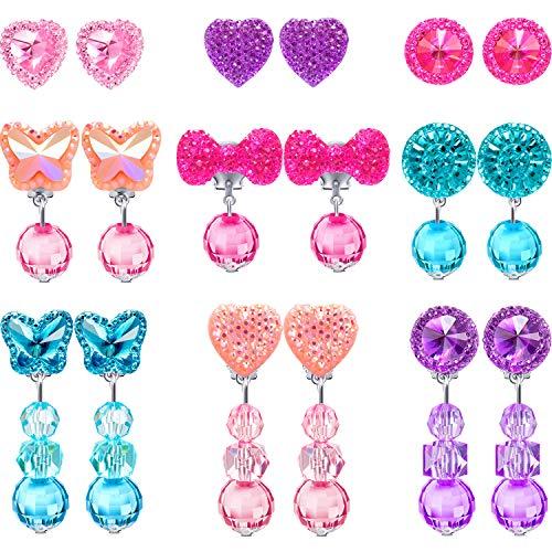Hicarer 9 Paar Mädchen Clip on Ohrringe Vortäuschen Prinzessin Spielen Ohrringe Schmuck Set (Stil 2) - Mädchen Schmuck-set Spielen
