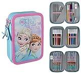 Disney Frozen 2700-204 Astuccio Triplo, 3 Scomparti, Pennarelli, Pastelli, Accessori Scuola 42 pezzi, Poliestere, Multicolore, Anna, Elsa