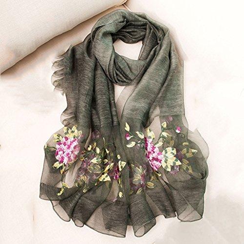 serviette de plage Broderie en soie de haute qualité pour femmes Échelle longue écharpe Foulard sauvage ( Couleur : #1 ) #1