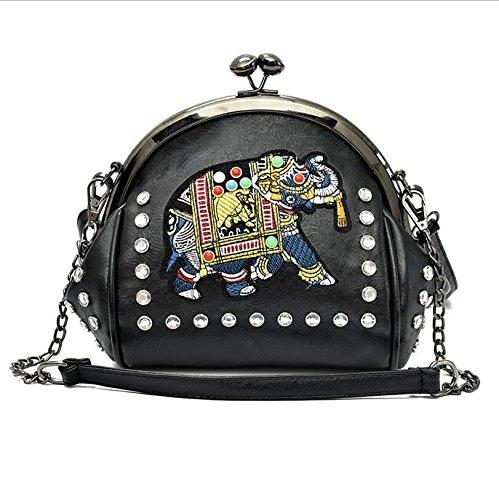 HZTDDA PU Bestickt Shell Bag Koreanische Version von Tier Weiß, Dunkelblau, Schwarz Mode Gezeiten...