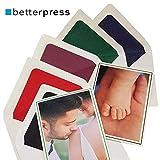 10 Klappkarten Faltkarten blanko Karten mit Umschlag Din A6, 105 x 148 mm auf Premium Papier mit farbigem Rahmen passend für Fotos 9 cm x 13 cm dazu 10 Umschläge Kuvert mit farbigem Seidenfutter (rot)