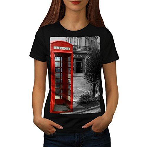 telephone-cabin-uk-communication-women-new-black-m-t-shirt-wellcoda