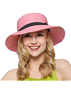 TININNA Mujeres Ladies plegable elegante lazo Floppy Sombrero de Playa Sol Sombrero De Paja Cap Visera Sombrero...