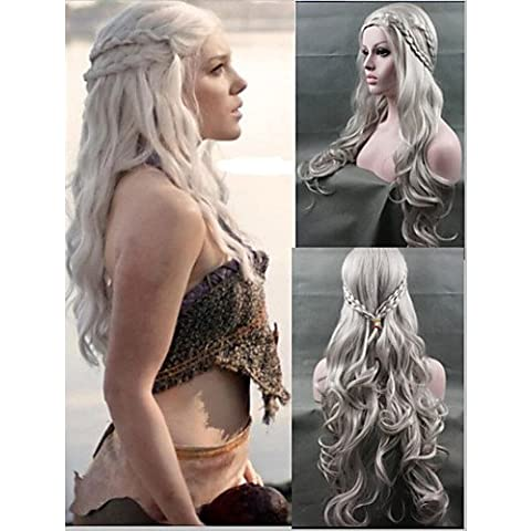 BBDM parrucca cosplay nuovo arrivo Game of Thrones Daenerys ispirato capelli cosplay parrucche d'argento