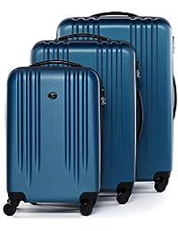 FERGÉ set di 3 valigie cabina media XL Marsiglia - bagaglio a mano rigido dure leggera valigetta 4 ruote