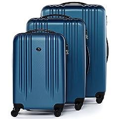 Idea Regalo - FERGÉ® Set di 3 valigie viaggio MARSIGLIA - leggero bagaglio rigido dure da 3 ABS duro tre pz. valigie con 4 ruote (multidirezionali 360°) blu