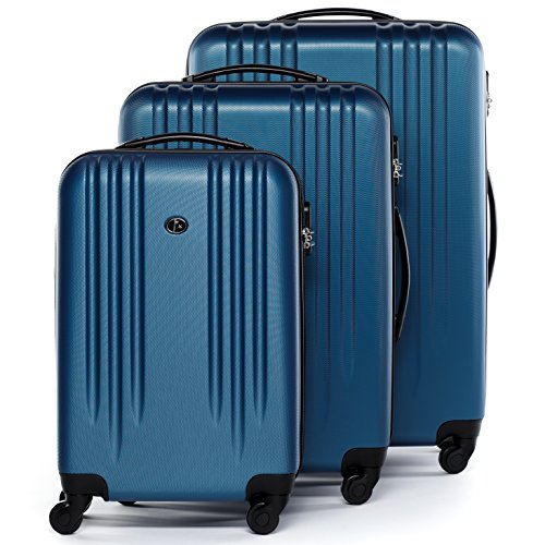 FERGÉ Kofferset Hartschale 3-teilig Marseille Trolley-Set - Handgepäck 55 cm L XL - 3er Hartschalenkoffer Roll-Koffer 4 Rollen 100{e95f781bd255ee2b0eeda8ee6702b53d04bedd310c00adcc7873f9c0ef09fb79} ABS blau