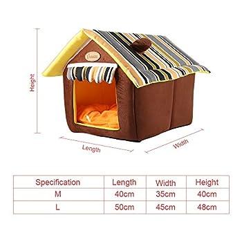 GBlife Pet House Canapé Intérieur Extérieur Portable Foldable Dog Room/Lit Chat Luxury Cozy 2-in-1 Lit Souple à Coussins Amovibles Home Animaux (m)