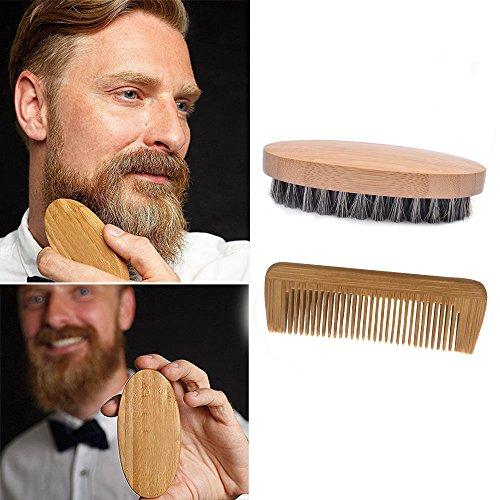 hahuha Makeups  Schönheitsprodukte , Männer Eberhaar-Borsten-Bart-Schnurrbart-Bürste militärisches hartes rundes Holz und Kamm