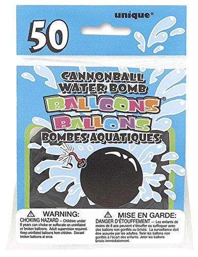 Unique Party Paquete de 50 Globos de Agua de látex con Forma de Bomba (5135)