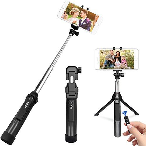 Selfie Stangen, PEYOU [3 in 1]Pocket Bluetooth Selfie Erweiterbar Stick mit Stativ und abnehmbarer Bluetooth Fernbedienung für Gopro Kamera, iPhone, Samsung Galaxy & Smartphone unter 6 zoll (Handy-kamera-dolly)