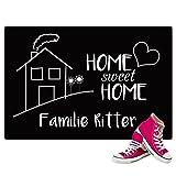 Geschenke 24 Fußmatte - Home Sweet Home mit Familienname - personalisierbare Schmutzfangmatte - Originelles Familiengeschenk