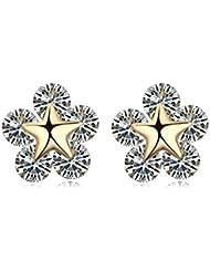 Cute Flores Pendientes de estrellas oro 18K Gp Blanco claro cristales de Swarovski Elementos