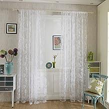 Kinlo® Un Par Visillos Cortinas Translúcidas Flores Blancas 145 X 245 CM