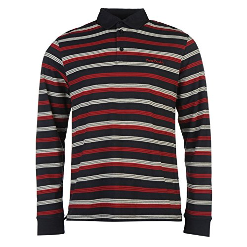 pierre-cardin-uomo-polo-maglietta-strisce-bottoni-manica-lunga-con-colletto-top-navy-xxxx-large