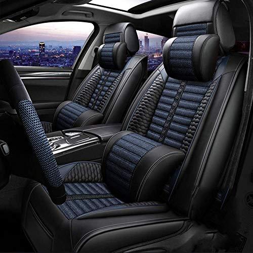 FUNF Autositzbezug Leinen Autositzkissen Sommer Atmungsaktiv Cooles Leder Vier-Jahreszeiten-Sitzbezug Sitz-Auto (Color : Blue) (Auto Kia Sitzbezüge Rio)