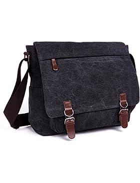 [Gesponsert]LOSMILE Umhängetasche Herren Schultertasche 16 Zoll Kuriertasche Canvas Laptop Tasche Messenger Bag für Arbeit...