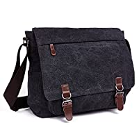 LOSMILE Laptop Messenger Bags, Men's Shoulder Bag, 16 Inches Vintage Canvas Bag for School and Work, Multiple Pocket. (Black)