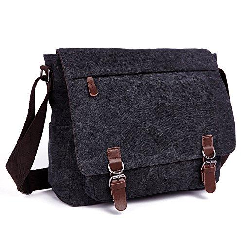 LOSMILE Umhängetasche Herren Schultertasche 16 Zoll Kuriertasche Canvas Laptop Tasche Messenger Bag für Arbeit und Schule. (Schwarz)