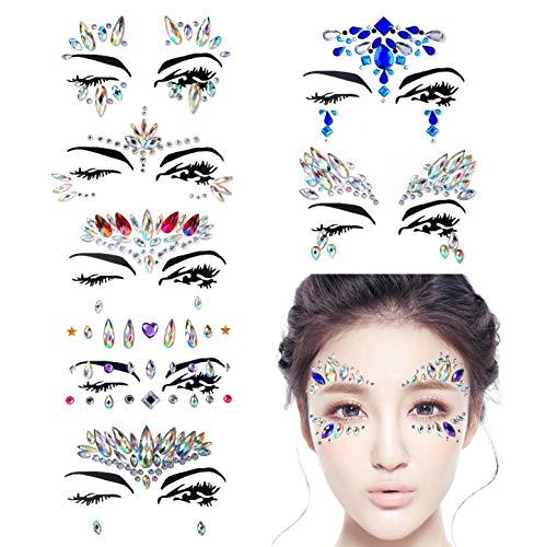 Hongyantech 8 Stück Gesicht Edelsteine, Schmucksteine Glitzersteine Aufkleber Glitter Bindi Strass Juwelen Face Tattoo Face Sticker für Glitzer Effekt, Parties, Shows, Make-up