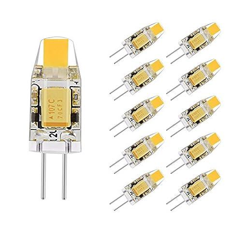 Lot de 10 Lampe LED G4 1 W 12 V AC/DC Bi-pin ampoule 2700 K Blanc chaud étanche 10 W LED G4 halogène de