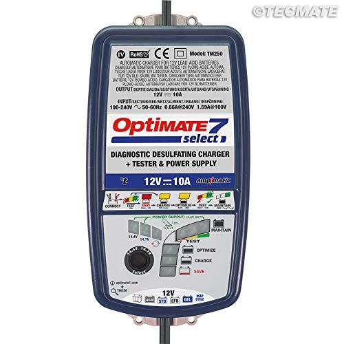 TECMATE Optimate 7 Select TM250, Caricabatterie da 10 A a 9 Fasi per batterie di avviamento e a Ciclo Profondo da 12 V