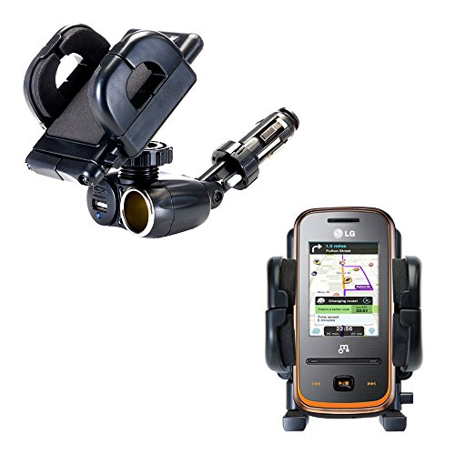 2-in-1 USB-Anschluss und 12 V Aufnahmehalter für das LG GM310 Bewahrt Ihr Gerät in jedem Pkw oder Lkw sicher auf