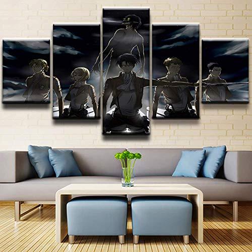 lquide Leinwanddruck Foto HD Wandkunst 5 Stücke Anime Attack Titan Papier Poster Wohnkultur Bild Modulare Raum, A, 30 × 40 × 2 30 × 60 × 2 30 × 80 × 1