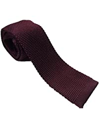 Retro Mod Square End Knitted Tie Burgundy