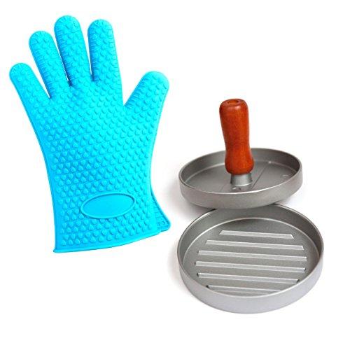 lantelme-5774-bbq-accessory-set-with-hamburger-press-silicone-grill-gloves