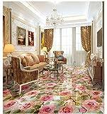 PVC Tapete 3D Wandbild Ursprüngliches Botanisches Blumenmuster Stieg Bodenfliese 3D Bodenmalerei 350x245cm