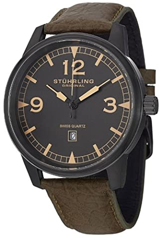 Stuhrling Original Aviator Tuskegee Condor Men's Quartz Watch with Grey Dial Analogue Display and Brown Leather Strap