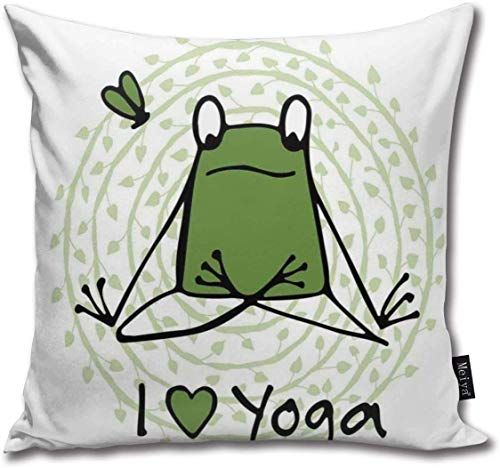 YOWAKi Funny Cartoon Character Sketch Style Animal with I Love Yoga Quote Sofa Car Decorative Cotton Blend Throw Pillow Case Cushion Cover Square, Soft Fashion,16 X 16 Inches
