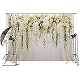 Fleur blanche toile de fond rideau fleur floral fond de fête de mariage Photo toile de fond pour réception de mariage Baby shower Photo Booth Props 250x185cm Xt-6749