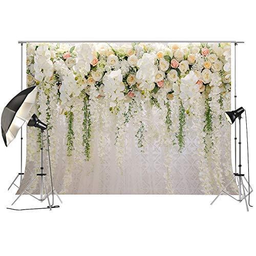 ochzeit Floral Wand Hintergrund Weiß und Grün Rose 3D Blumen Vorhang Dessert Tischdekoration Blush Hintergrund für Fotografie FT6749 ()