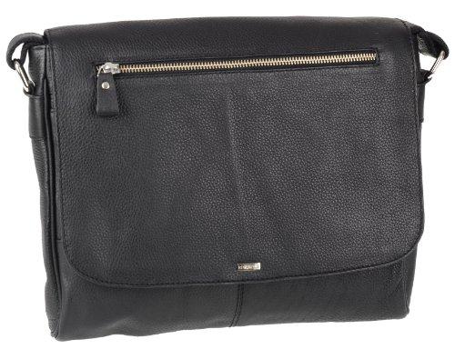 Preisvergleich Produktbild G.Chabrolle von Lindenmann Business Laptoptasche Umhänger 34x28x8cm schwarz Leder