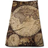 sd4r5y3hg Image of Old World Map Made in 1720S Nostalgic Style Art Historical Atlas 100% Cotton Fade Resistant Highly Absorbent Machine Washable Hotel Quality Soft Absorbent Towel