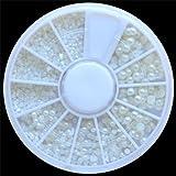 nail world365 EverGoods White Pearl Nail Art Stone Different Size Wheel Rhinestones Beads