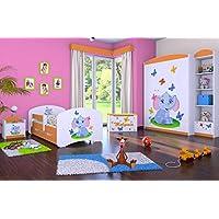 Preisvergleich für naka24 5-teiliges Set Jugendzimmer Kindermöbel Zimmermöbel Elefant mit Kinderbett