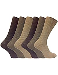 9db622fbc 6 Pack Mens Thin Soft 100% Cotton Rich Breathable Coloured Ribbed Dress  Socks