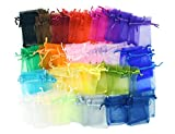 FiveSeasonStuff Multicoloured Organza Wedding Favours Gift Bags Jewellery Birthday Party Baby Shower Arts & Crafts Gift Wrapping Candy DIY Pouches (7cm x 9cm) Small — Pack of 100