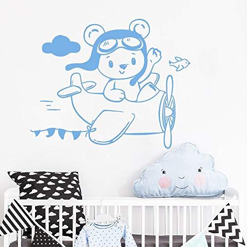 GUUTOP Lovely Little Teddy Bear Aviator Wall Stickers Plane Kids Room Sticker Wallpaper Baby Nursery Vinyl Decals Girls Boys 42 * 34cm