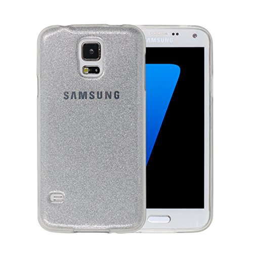 Candy Bling Bright Dazzle Twinkle Glitter Bling Soft Gel TPU Glanz Sparkling Cover Case für Samsung Galaxy S5I9600(Candy Bling C Stil, Bling Silver -