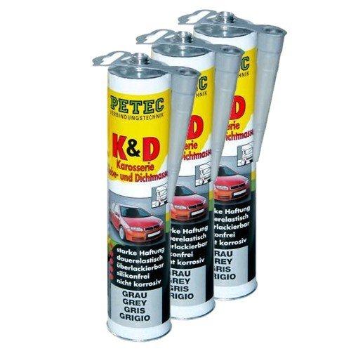 Preisvergleich Produktbild 3x PETEC K&D Karosserie Klebe- und Dichtmasse Klebemasse Dichtmasse Karosseriekleber Klebstoff Kleber Kartusche 310ml grau